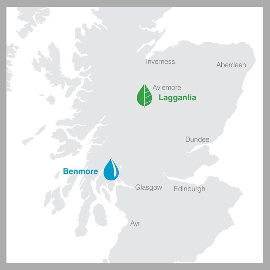 map showing locations of lagganlia, benmore and bangholm