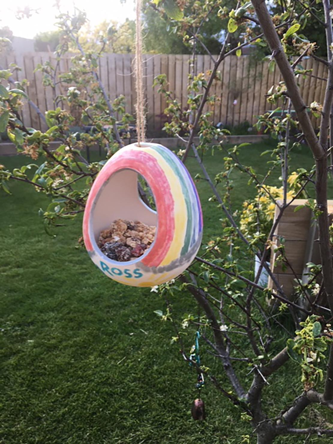 homemade bird feeding in the garden